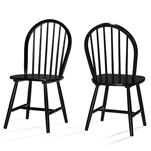 Christopher Knight Home Declan Farmhouse Cottage High Back Spindled Rubberwood Dining Chairs, 2-Pcs Set, Black
