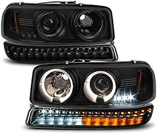For 1999-2006 GMC Sierra | Yukon Black Smoked Halo Projector Head Lights Pair + LED Bumper Lights Set