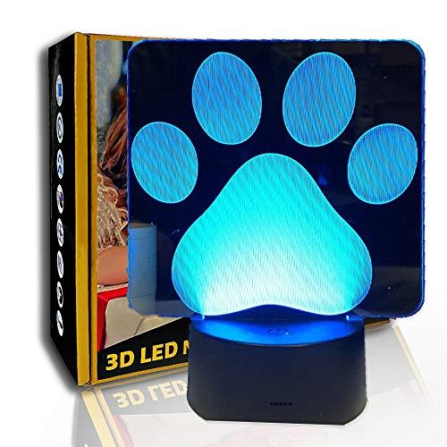 JINYI Pata de perro de luz nocturna 3D, lámpara de noche de ilusión LED, decoración de dormitorio, A- Touch negra Base (7 colores), Regalo para niños, Gradiente colorido