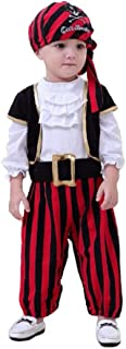 Baby Pirate Costume, Ultra Comfortable Stripes Captain Infant Costumes with Vest, Cap and Belt for Boys, Black