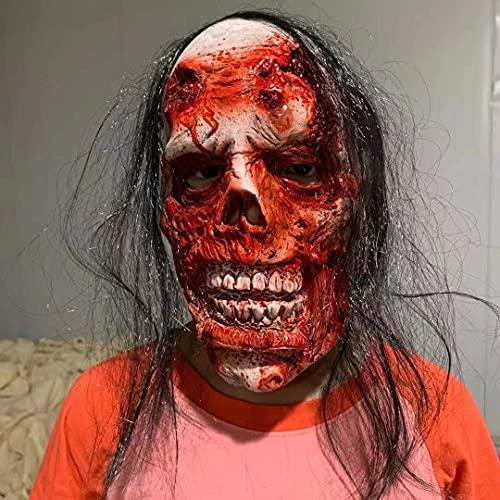 Decoraciones de Halloween, Máscara de Terror Zombie Mujer Fantasma Máscara de Vampiro Blood Scary Cabello Negro Realista Látex de Cara Completa Cosplay para Halloween Fiesta Temática Carnaval (A)