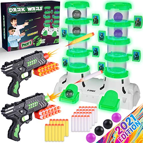 Princeplay Targets Shooting Games for Kids - Toy Foam Blasters & Guns Glow in The Dark Shoot Game Perfect Outdoor Activities Birthday Gift to Girls and Boys Ages 6 7 8 9 10 11 12 Years Old