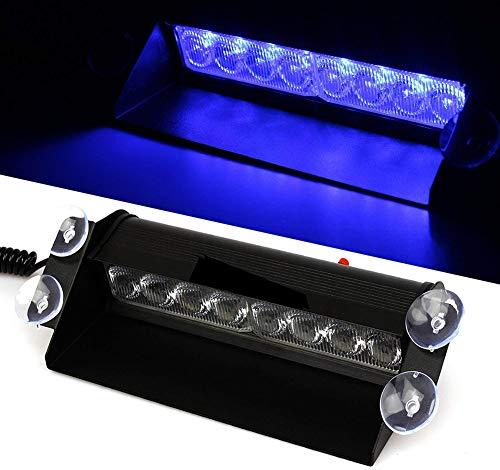 JINGBO Auto LKW Notfall Flasher Dash Strobe Warnung Licht Tagfahrlicht Flash Led Polizei Lichter 8 LEDs 3 Blinkende Modi 12V,Blau