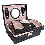 Deinatyジュェリーボックス 2層大容量 鏡付き 高質量 ジュェリーケース 指輪置き ネックレス収納 高級の宝石箱 アクセサリー収納 ジュエリーバッグ お誕生日 お祝い 贈り物