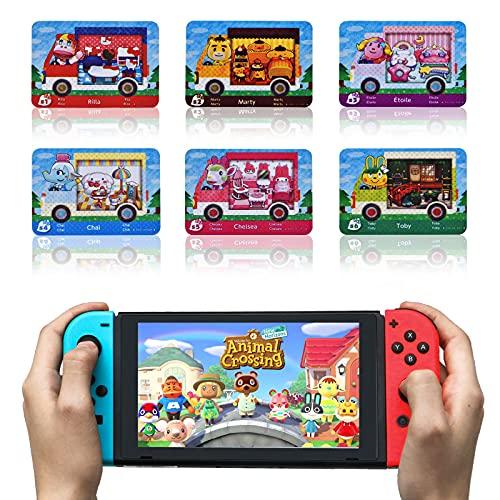 Für 6 Stück Animal Crossing Sanrio New Horizons ACNH NFC Tag Spielkarten, kompatibel mit Switch/Lite, Wii U und 3DS, mit Aufbewahrungsbox