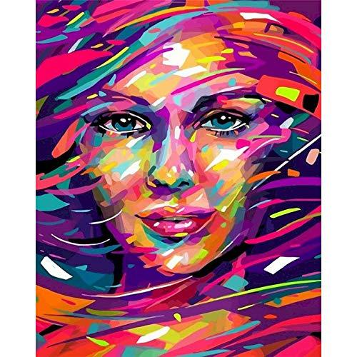 Pintura Diy sin marco por números figura abstracta de mujer pintura por números sobre lienzo acrílico Diy regalo A5 40x50cm