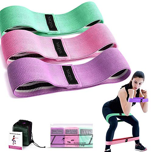 MQSS Stof Resistance Bands Set van 3, Resistance Workout Heup Oefening Bands voor Abs, Squats, Benen, Butt - Heavy Strength Fitness Bands Non-lip Booty Band