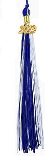 [2019 Upgrade]HEPNA Uniforms Graduation Cap Tassel for Graduation Photograghy,Double Color Royal Blue/White,2019 Year Charm