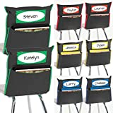 Really Good Stuff Grouping Chair Pockets – Set of 8 - Black with Colored Piping and Name Tag – Classroom Chair Organizer Keeps Students Organized and Classrooms Neat