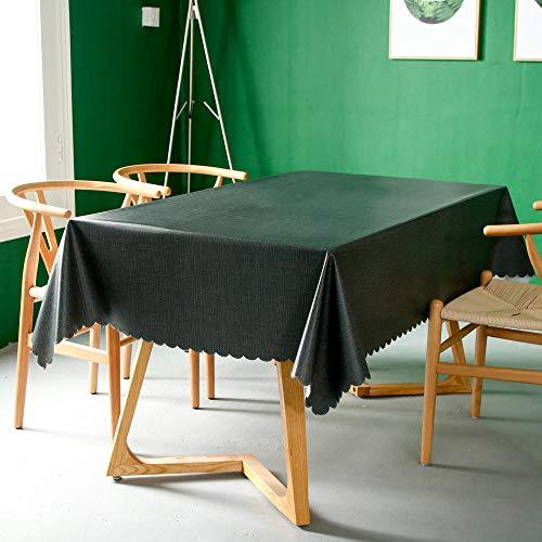 Kuingbhn Manteles Antimanchas Mantel Rectangular de Antimanchas PVC Simple de Color Sólido Impermeable Vintage decoración Verde Oscuro 140 × 260cm