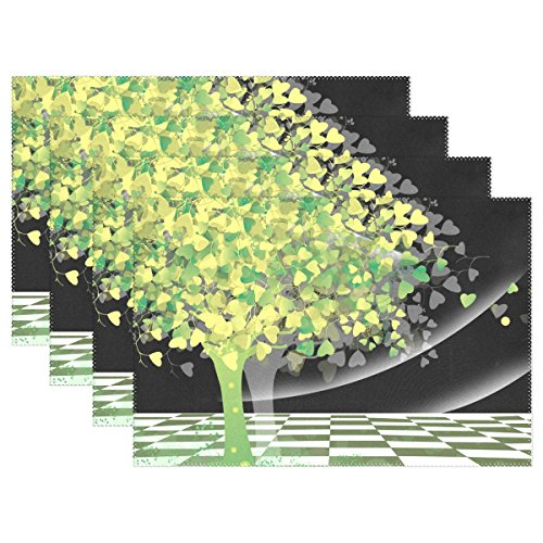 LIANCHENYI Tischsets mit Baum, Herzblättern, hitzebeständig, Polyester, Tischmatte für Küche, Esszimmer, 1 Stück, Polyester, Multi, 12x18x1 in