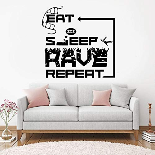 yiyiyaya Eat Sleep Rave Repeat Electronic Dance Wall Decal Music ...