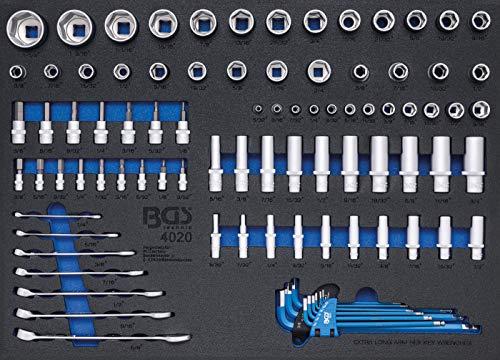 BGS 4020 | Werkstattwageneinlage 3/3: Steckschlüssel / Maul-Ringschlüssel | Zollgrößen | 90-tlg