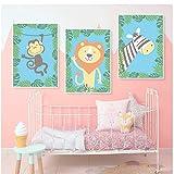 MZDesign Affiche Élégant poésie Kawaii Jungle Animal Dessin animé Moderne Toile Peinture Art Impression Affiche Photo peintures Enfants Chambre Mur déco -40x60cmx3 Pas de Cadre