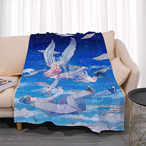 GUANGZHENG Il tuo Lie in April Serie Miyazono Kaori E Arima Kousei nel Cielo Pattern/Anime Blanket Personaggio/Facile da trasportare e Clean/Single-Sided Stampa Digitale/Adatto for Adulti e ba