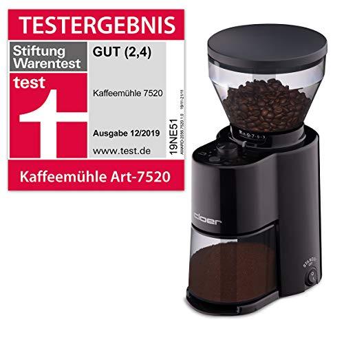 Cloer 7520 Elektrische Kaffeemühle mit Kegelmahlwerk, Stiftung Warentest gut, 2-12 Tassen, 300 g Kaffeebohnen, 150 W, verstellbarer Mahlgrad, Kunststoff, Schwarz