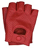 Riparo Mens Leather Full Mesh Fingerless Half-Finger Driving Motorcycle Riding Gloves (Red, Large)