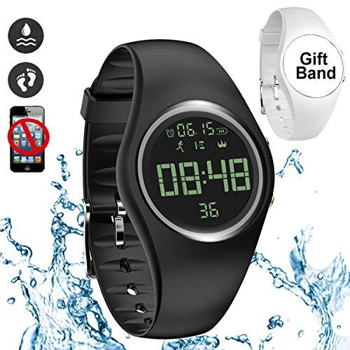 feifuns Smart Watch Non-Bluetooth Kid Pedometer Watch Sport Wristband IP68 Water-Resistant Swim Watch Fitness Tracker with Step/Distance/Calorie/Clock/Timer for Walk Kid Men Women (Black+Band)