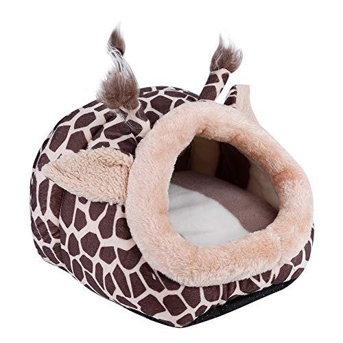 Smandy Linda Jirafa en Forma de Hamster Cama para Mascotas Invierno Cálido Nido Casa Jaula Dormir Cojín Perrera para...