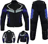 Traje de moto impermeable con chaqueta y pantalones. Color azul, protección con marcado CE, para hombres, traje de cordura