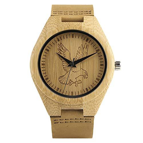 UIOXAIE Reloj de Madera Reloj de Madera con Esfera de Grabado único, Relojes de Madera de Caballo águila a la Moda, Reloj de Pulsera de Cuarzo, Regalo de Cuero Genuino para Hombres, á