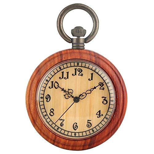 WLXJDJ Reloj de Bolsillo de Madera clásico para Hembra Relojes de Bolsillo de dial de Color marrón Claro para Mujeres Pensión práctica de Cadena áspera Desmontable
