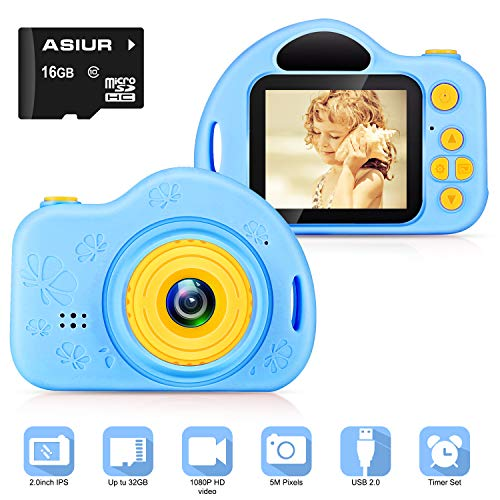 ASIUR Digital Camera for Kids,FHD Kids Digital Video Gift Camera 1080P with 16GB SD Card for 3-10 Years Boys Girls