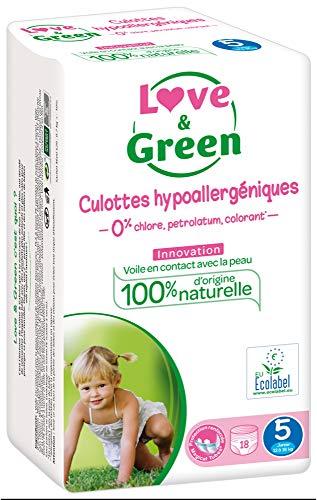 Love & Green - Pack de 18 Culottes Hypoallergéniques - Taille 5 (12-18 kg)