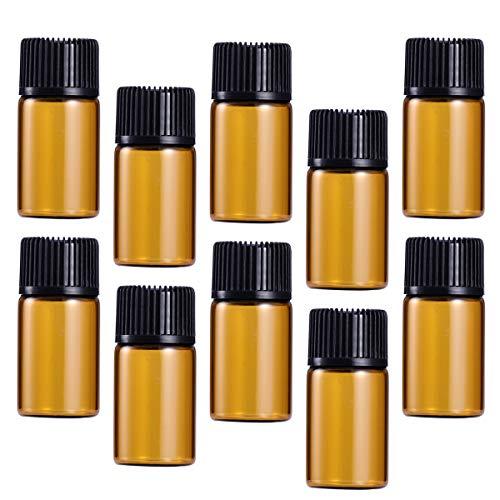 Cabilock Praktische 30 Stück 3 ml Mini-Glasfläschchen mit Deckel für ätherische Öle, Chemielabor, Probenbeutel