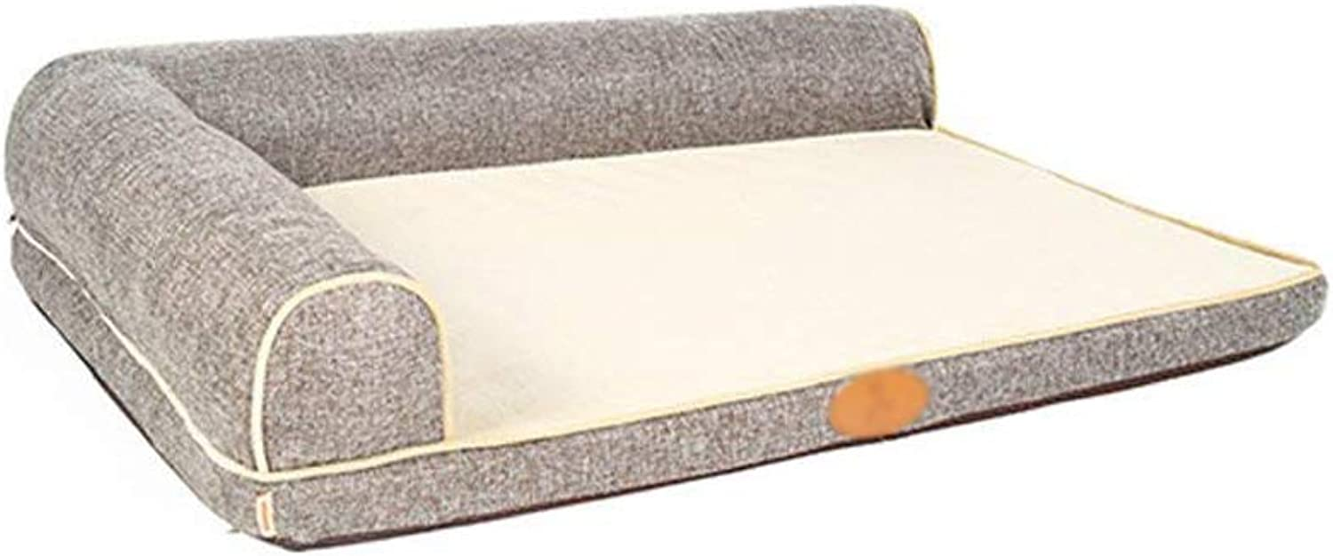 CHONGWFS Large Dog Four Seasons Sofa Winter Mat Washable Teddy Keji Dog Bed Medium-Sized Sofa Kennel Cat Litter (color   Light Brown, Size   Small)