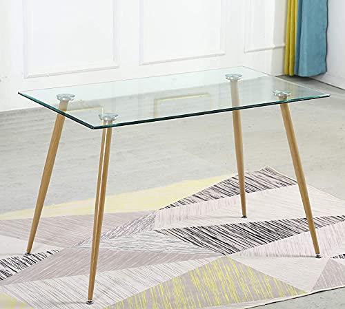 Mesa Comedor, SHEEPPING Mesas de Centro para Salon, Mesa de Comedor Mesa Auxiliar Cristal con Tablero de Vidrio Transparente, 120 x 70 x 75 cm