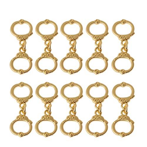 VIcoo 10 stuks splinters goud hoogpolige politie handboeien charme hanger DIY sieraden maken - goud