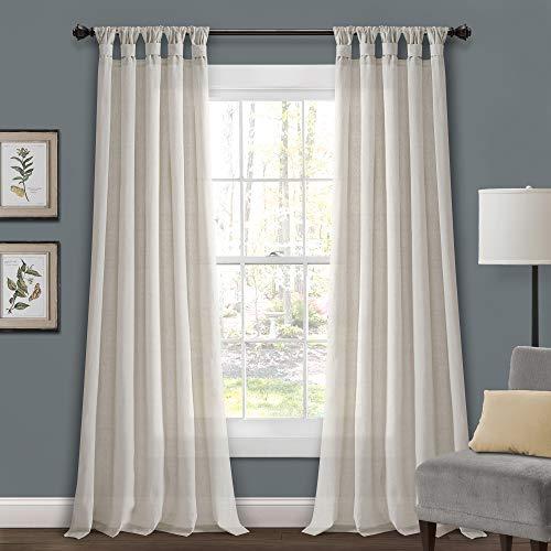 "Lush Decor Light-Linen Burlap Knotted Tab-Top Window Curtain Panel Pair (84"" x 45"")"
