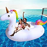 TURNMEON Huge Unicorn Inflatable Pool Float Pool Floatie Summer Beach Float Swimming Pool Party Toys Lounge Raft Ride-on Water Pool Toys for 2-4 Multi Players Adults Kids Island(102'x 45'x 41')