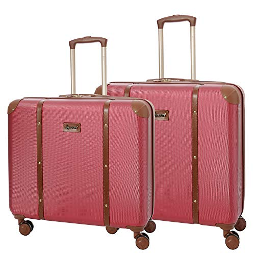 Aerolite Stylish Modern Classic Retro Trunk Style 4 Wheel ABS Hard Shell 2 Piece Checked Check in Hold Luggage Suitcase Set, 23' + 24', Winter Rose