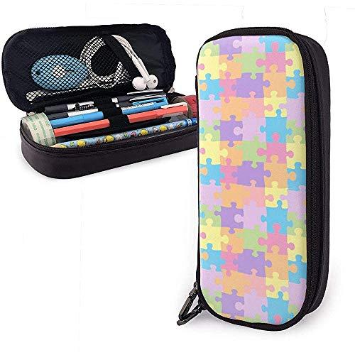 Puzzel Autisme Potlood Case Pen Case Potlood Pouch briefpapier Organizer Multifunctionele Cosmetische Make-up Bag Dubbele Rits Leer
