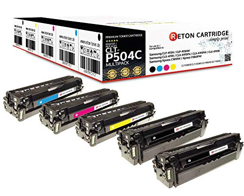 5 Original Reton Toner | mit 35% mehr Leistung | kompatibel zu CLT-P504C für Samsung CLP-415N CLP-415NW Samsung CLX-4190 CLX-4195FN CLX-4195FW CLX-4195N Samsung Xpress C1810W C1860FW