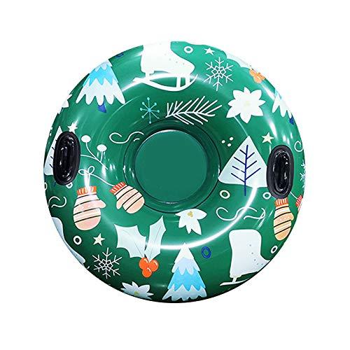 JFF Trineo Inflable Redondo De Tubo De Nieve Navideño con Asas Material De PVC Divertido Inflable Adultos Niños Deportes Al Aire Libre Círculo De Esquí