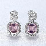 SALAN Pendientes De Botón De Topacio Púrpura Cuadrado De Plata De Ley 925 para Mujeres Elegantes con Pequeñas Joyas De Circonitas Cúbicas
