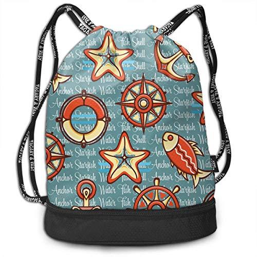 Mochila unisex con diseño de figuras coloridas de color marino y cordón de doble hombro, mochila deportiva para escuela, gimnasio, cierre de cuerda ajustable