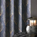 KGORGE Print Curtains Room Drakening, Leaf Design Window Curtain Sets for Dinning Room Family Room Dorm, Sunlight Reduction Geometric Gold Lines Garden Drapes, 52 x 63 inch Each Panel, Set of 2, Grey