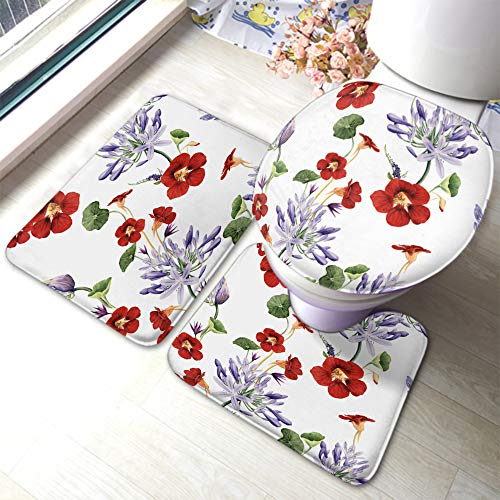 Moslion Floral Bath Mat Garden Flower Rose Lavender Nasturtium Peony Leaf Bathroom Mat Set 3 Pieces Rug Toilet Seat Lid Cover Non Slip Mat Anti-Skid Pad Red Purple