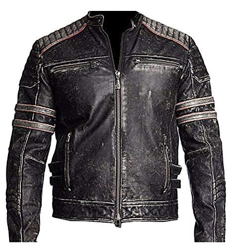 Men's Vintage Cafe Racer Biker Distressed Black Retro 1 Motorcycle Genuine Leather Jacket (X-Large)