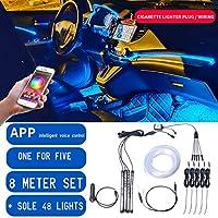 丈夫で安全な複数のUSESCAR装飾ライト 8M RGB光ファイバーカーインテリア装飾アンビエントライトのAppサウンドコントロールLEDストリップのシガーライター自動雰囲気ランプ12V (Emitting Color : App 8m 5 in 1 set)