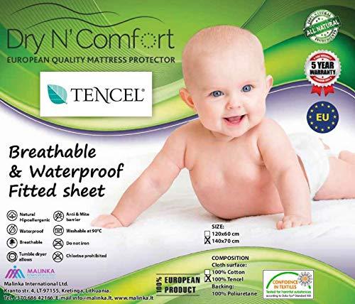 Waterdichte matrasbeschermer Tencel hoeslaken voor kinderen 70x140 - Dry N Comfort - baby matras protector Europese premium kwaliteit 5 jaar garantie