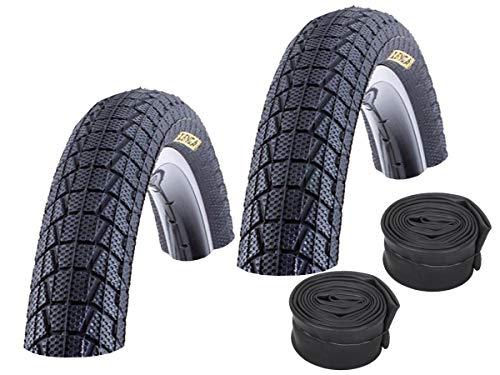 KENDA Set: 2 x Fahrrad BMX Reifen K907 Krackpot SCHWARZ 20x1.95 + 2 SCHLÄUCHE Autoventil