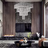 7PM Modern Square Raindrop Chandelier Luxury Crystal Staircase Ceilings Light Fixture Flush Mount for Staircase Living Room Foyer W24' X H55'