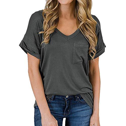 x8jdieu3 Sommer Neues T-Shirt Mit V-Ausschnitt, Lockeres, Lockeres, Einfarbiges Oberteil Mit Kurzen äRmeln