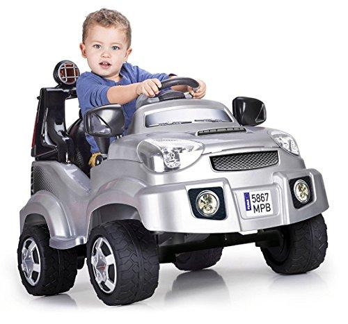 FEBER Famosa 800009606 - TT Rallye - Elektrospielzeugfahrzeug für Kinder von 2 bis 5 Jahren, 6V, grau