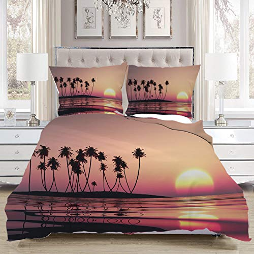 Buy Discount Pink 3 Piece Duvet Cover Set, Luxury Soft Comfortable,Pink Tropical Sunset,Luxurious Be...